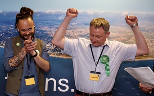 Simon Bull and Chris Rigby at the declaration of their landslide win