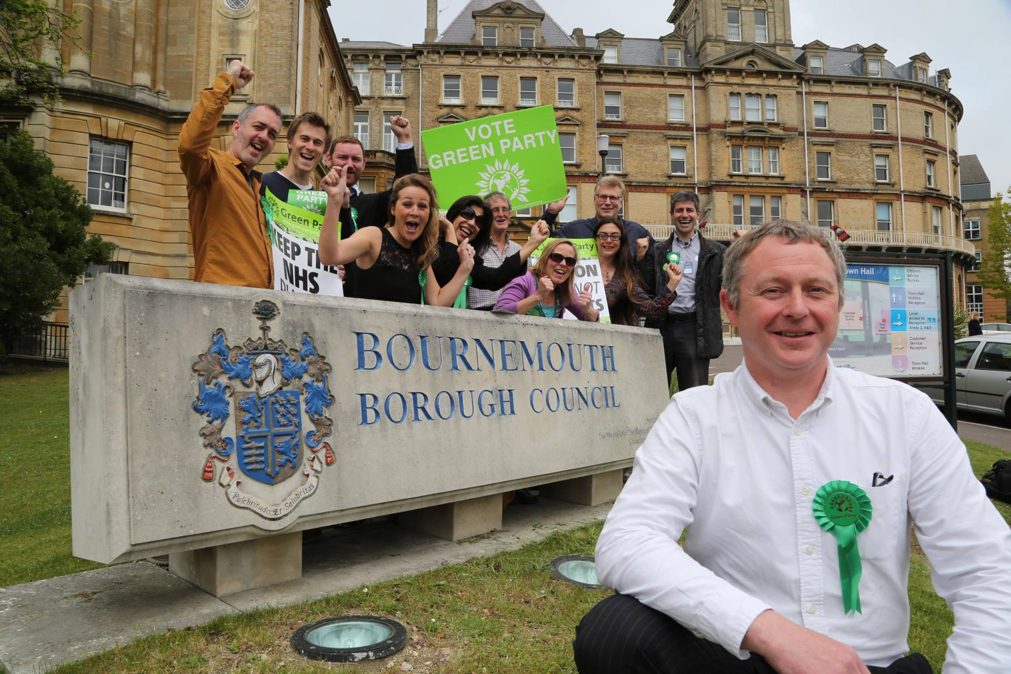 Simon Bull celebrating his 2015 election win with local Green members